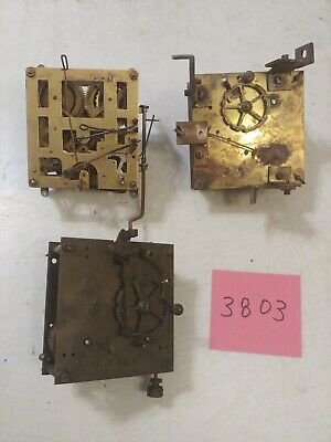 3 Antique French Made Clock Movements  For Parts