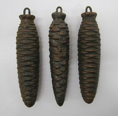 Set of 3 Vtg Cuckoo Clock Weights Cast Pinecone Style Shape ~1lb Parts
