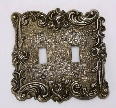 1967 American Tack Hardware Vtg Light Switch Cover Antiqued Gold Roses Repousse