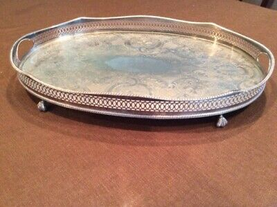 Lge Vintage Sheffield Silver Plate on Copper footed serving tray