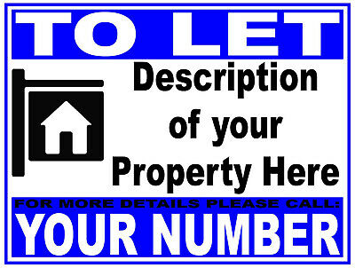 Personalised TO LET RENT Sign Boards 4MM Correx HOUSE FLAT PROPERTY from £9.99