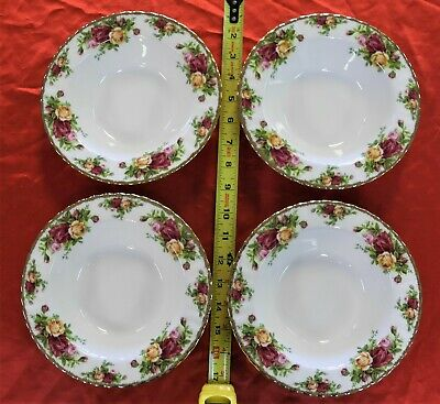 Royal Albert Bone China OLD COUNTRY ROSES Rim Soup Bowls Excellent cond Set of 4
