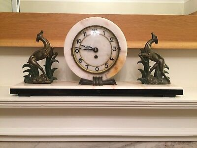 Art Deco 1920/30s French Mantle Clock - polished black marble base. Heavy Piece.