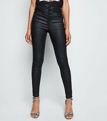 Skinny High Waisted Coated Trousers New Look Pvc Leather Look Pants 4 To 18