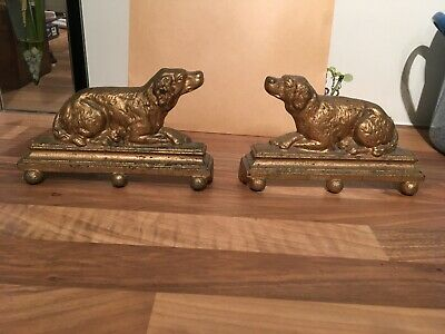 Vintage Pair Of Cast Iron Fire Dogs Or Door Stops
