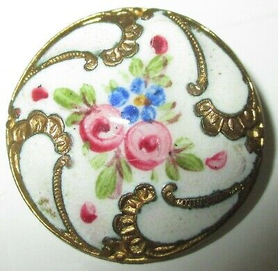 ANTIQUE FRENCH ENAMEL BUTTON - FLOWERS w ROCOCO GILT - 7/8""