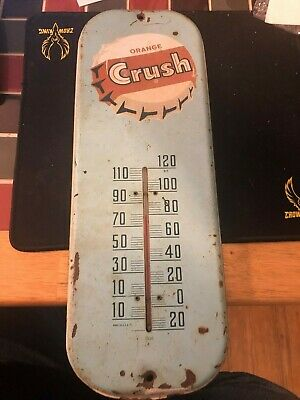 "Vintage 1950's Orange Crush Soda Pop Gas Station 16"" Metal Ther"