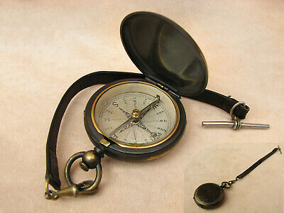 Late 19th Century brass pocket compass with T bar leather strap