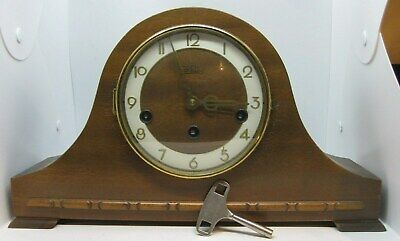 Antique Welby Made in Germany Wooden Mantle Clock With Key - Tested Works