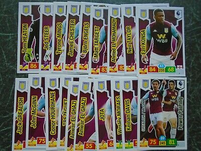 PANINI ADRENALYN Premier League 2019/20 ASTON VILLA 18 Card basic team set