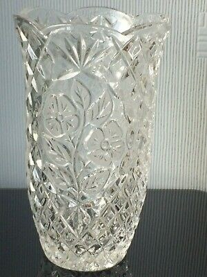 Large Thick Pressed Clear Glass Vase Engraved With Flowers Heavyweight Décor