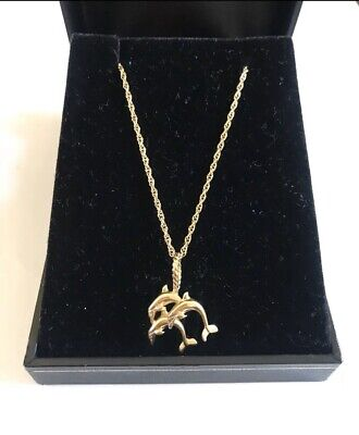 "14k 14kt Yellow Gold Triple Dolphin Pendant Necklace 3.8 Grams Size 18"" L"