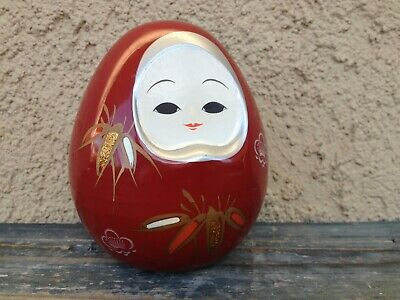 Traditional Vintage Japan Kokeshi Plum Blossom Red Lacquered Doll Bento Box