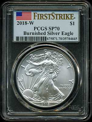2018-W $1 Burnished Silver American Eagle SP70 PCGS 35784665 First Strike