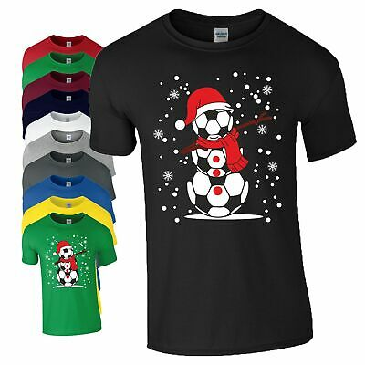 Football Inspired Christmas Gift T-Shirt Snowman Santa Hat Snow Flakes Mens Top