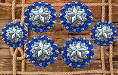 6 pc crystal bling saddle concho set  Star blue conchos