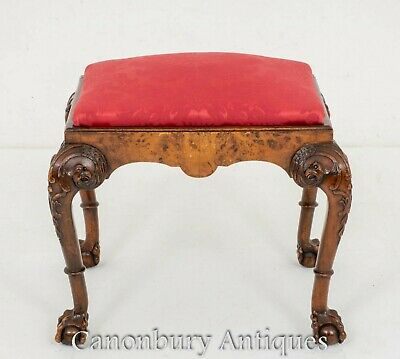 Antique Victorian Stool - Walnut Seat 1890