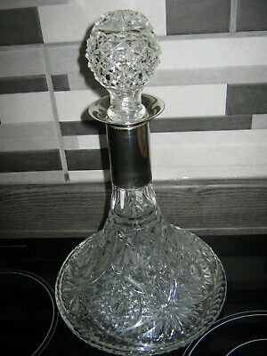 Cut Glass & Silver Plated Ships Decanter