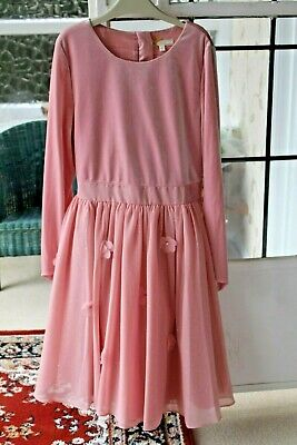 "Beautiful Girls ""John Lewis"" Powder Pink Velvet Dress size 11 years *VGC*"