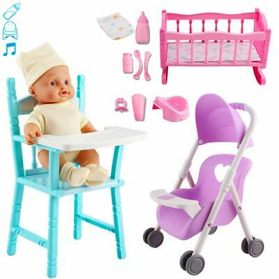 My First Baby Doll' Play Set Includes Crib, Stroller, High Chair, And Baby Doll