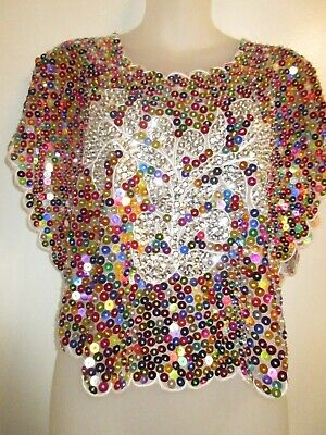 Poncho Shawl Cover Up Sparkling Rainbow Sequin Beaded Silver Multi-Color Shiny