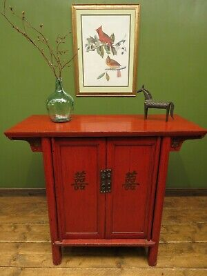 Antique Chinese Red Laquered Cabinet, Altar Cabinet, Linen Cupboard
