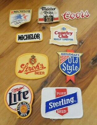 9 LOT COORS MILLER LITE Embroidered Iron Or Sewn On BEER Patches Free Ship