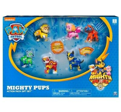 Paw Patrol Mighty Pups Action Pack Gift Set 6 Pack NEW