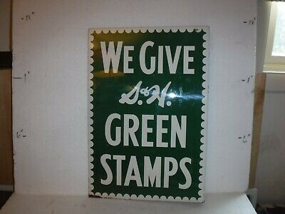 """S & H Green Stamps Metal Sign Flange Aproximately 17"""" x 12"""""""