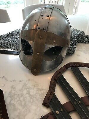 Medieval Viking Helmet heavy mesh/Chain, Leg Armors, Travel bag/ pouch, Costume