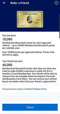 Amex American Express Metal Gold card Referral 40k points+ extra $70 from me
