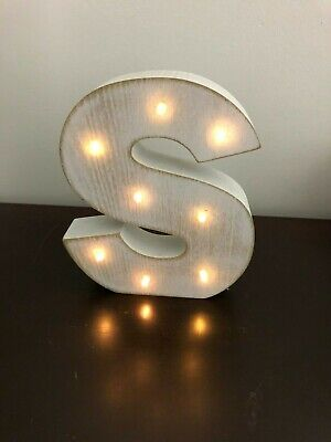 Decorative Letter S Initial White Washed Wood Marquis Light-up 6 inch Battery