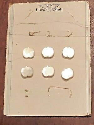 """6 Vintage Carved Mother of Pearl Realistic Apple Buttons Original Card 1/2"""""""