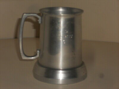 Vintage Metal Papst Blue Ribbon Clear Bottom Engraved Stein Really Nice