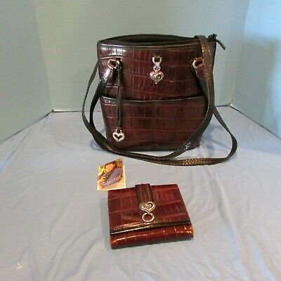 Brighton Penelope Heart Brown Moc Croc Leather Trim Bucket Purse and Wallet