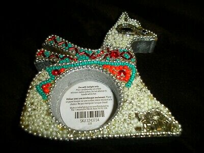 PIER 1 BEADED DIAMOND RING TEALIGHT CANDLE HOLDER CHOICE OF COLOR SILVER GOLD