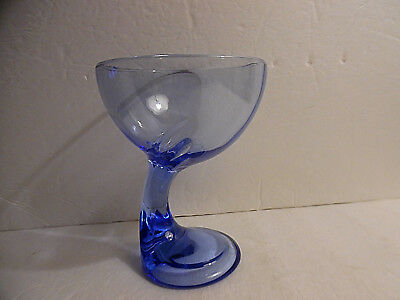Clear Blue Curved Stem Thick Glass Dessert Bowl Made in Italy