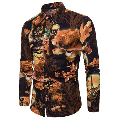 Men Blouse Long Sleeve Shirt Floral Print Long Sleeve Lapel Business Formal Top
