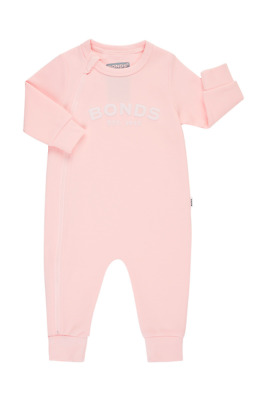 Bonds Baby Tech Sweats Long Sleeve Zip Wondersuit Romper sizes 0 2 Colour Pink