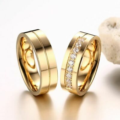 Love Women Men Wedding Band Ring Cubic Zirconia 18K Gold Plated Stainless Steel