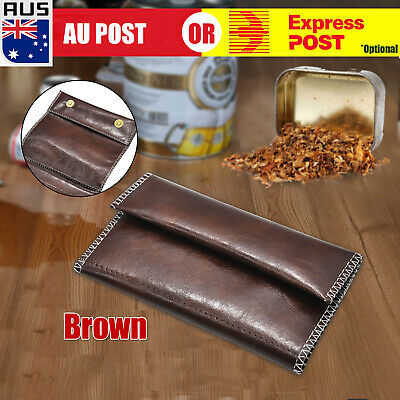 Brown Faux Leather Cigarette Tobacco Pouch Bag Case Paper Birthday Gift J