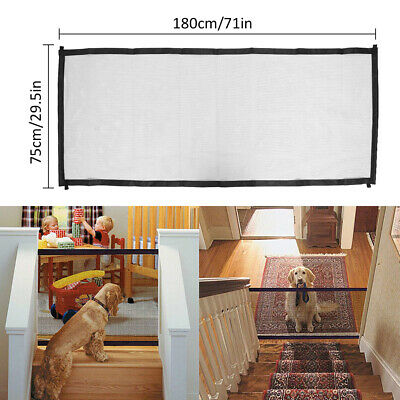 Pet Dog Gate Retractable Safety Guard Mesh Baby Enclosure Stair Gate Isolation