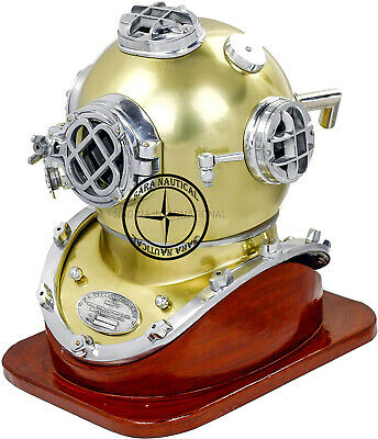 "18"" US Navy Mark V Brass Antique Scuba SCA Diving Divers Helmet with Stand"