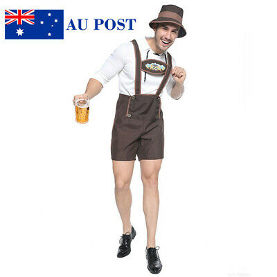 Men Oktoberfest Leiderhosen German Beer Bavarian Mens Costume Halloween AU