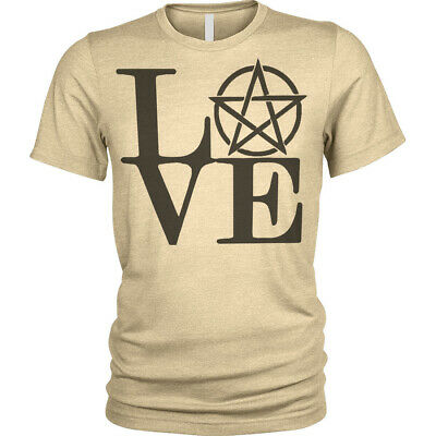 Love Pentagram T-Shirt gothic cult witches magic wiccan story Mens Tee
