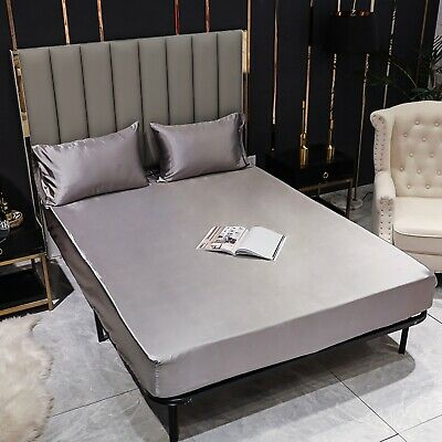 1000TC 2 Size Ultra SOFT Silky Satin Fitted Sheet Cool Summer King Queen Size AU