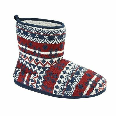 Mens Womens Fur Lining Knitted Winter Slipper Boots Warm Bedroom House Booties