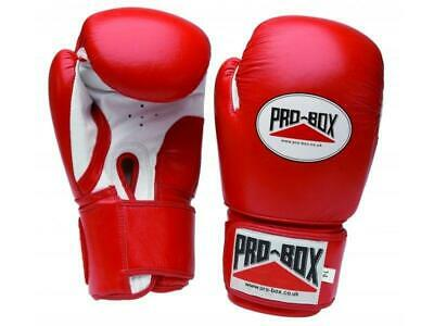 Pro Box Boxing Gloves Super Spar Leather Sparring Training - Red