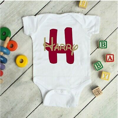 Disney Style Personalised Baby Grow Vest Shower Gifts Girls Boys Name White