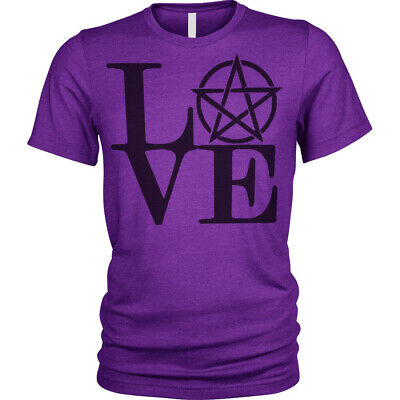 Love Pentagram T-Shirt gothic cult witches magic wiccan story Unisex Mens